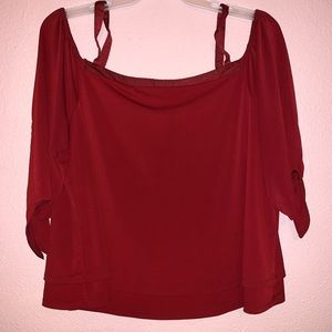 CATO Plus Red Cold Shoulder Blouse 18/20